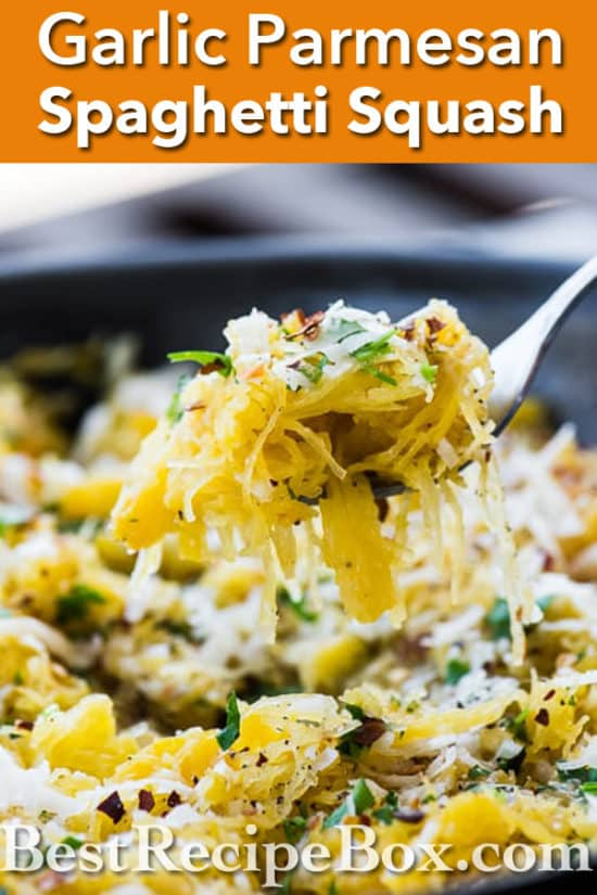 Garlic Parmesan Spaghetti Squash Recipe that's Healthy and Low Carb | @bestrecipebox