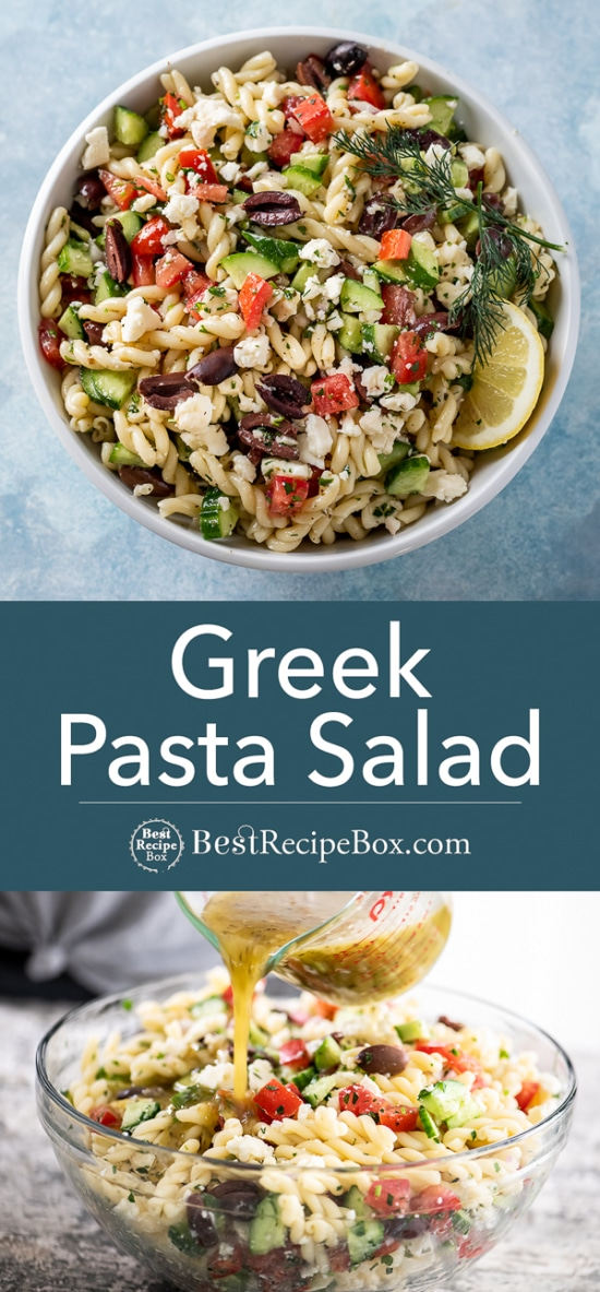 Delicious bowls of greek pasta salad with dressing