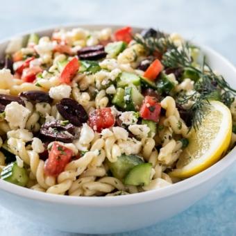 Greek Pasta Salad Recipe | BestRecipeBox.com