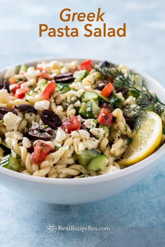 bowl of pasta salad with greek dressing for greek pasta salad