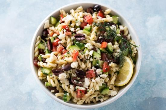 Combine Greek Pasta Salad Ingredients
