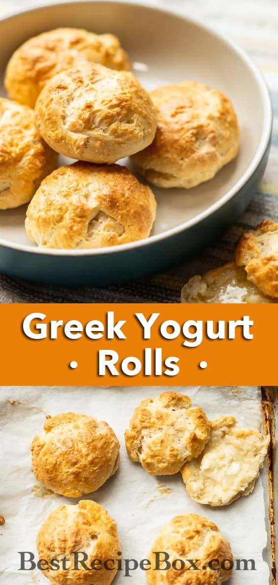No Yeast Yogurt Rolls Yeastless bread recipe with greek yogurt | BestRecipeBox.com