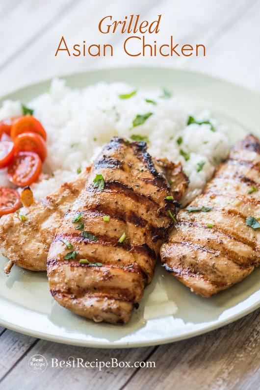 Grilled Asian Chicken Recipe on the BBQ Healthy Chicken Recipe | @bestrecipebox