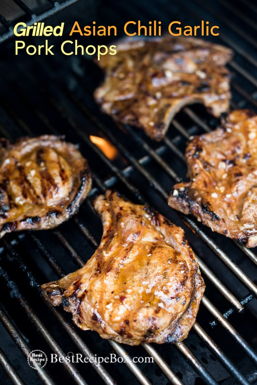 Grilled Asian Chili Garlic Pork Chops Recipe BBQ Pork Chops | @bestrecipebox