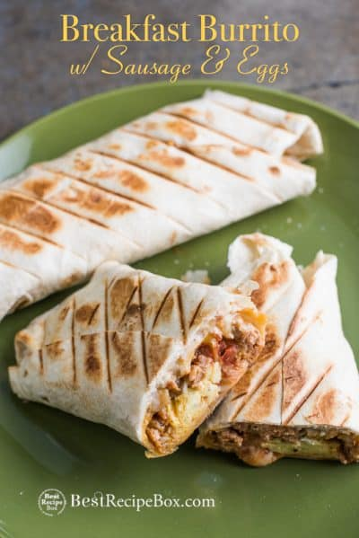 Killer Grilled Breakfast Burritos with Sausage Egg or Bacon on plate