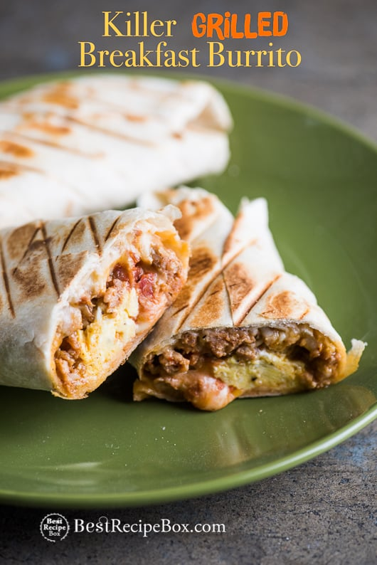 Grilled Breakfast Burritos Recipe With Sausage Egg Bacon