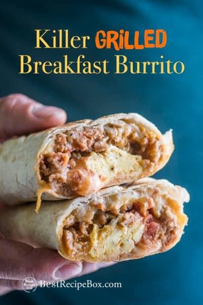 Hand holding Breakfast Burritos
