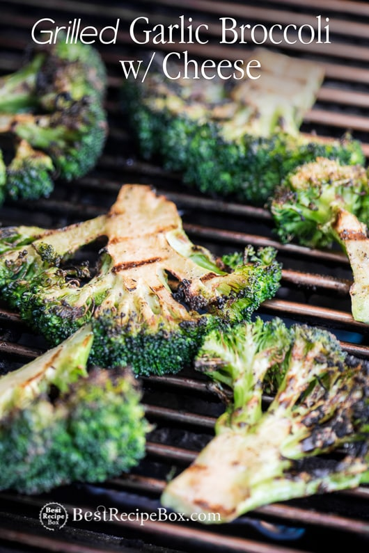Grilled Broccoli Recipe or BBQ Broccoli Recipe with Cheddar Cheese on a grill