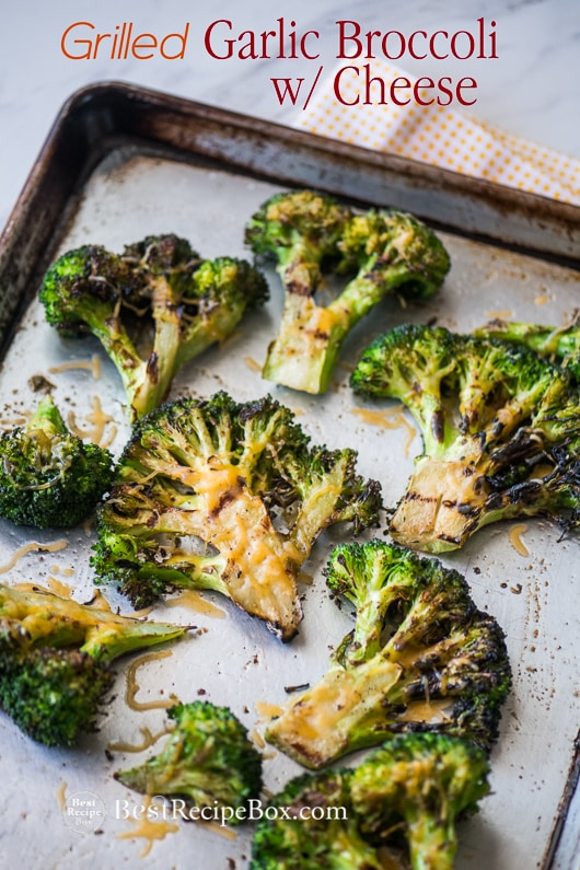 Grilled Broccoli Recipe on a baking sheet pan