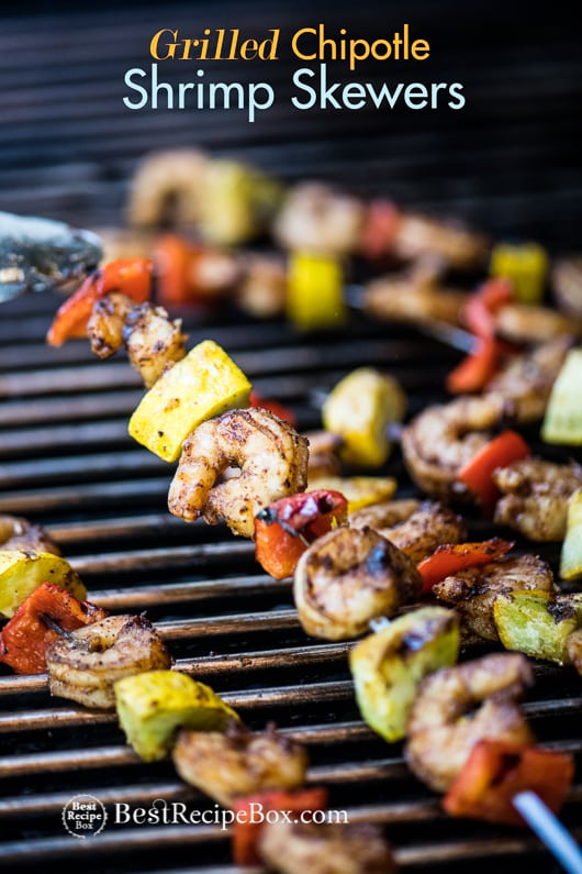Grilled Chipotle Shrimp Skewers Recipe or Shrimp Kebab Recipe | @bestrcecipebox
