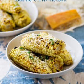 Grilled Corn with Garlic & Parmesan Cheese