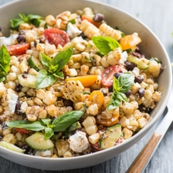 Summer Grilled Corn Salad with Black Beans, Tomatoes, Basil, Feta Cheese   @bestrecipebox