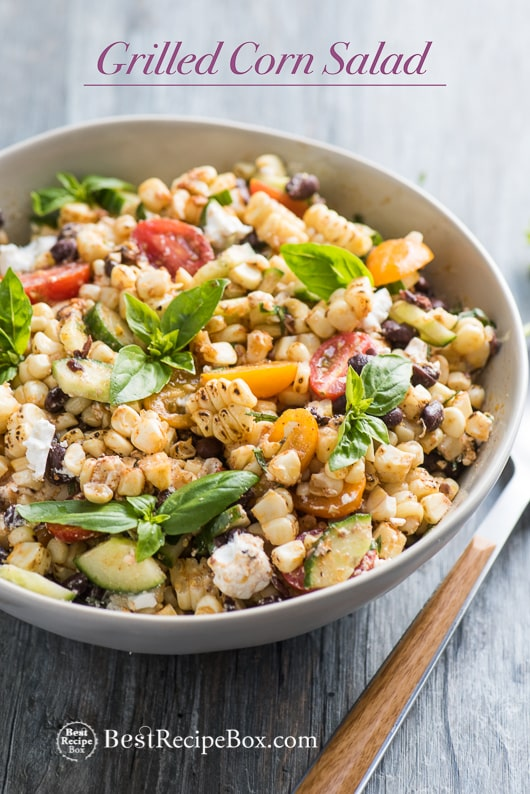 Summer Grilled Corn Salad with Black Beans, Tomatoes, Basil, Feta Cheese in bowl