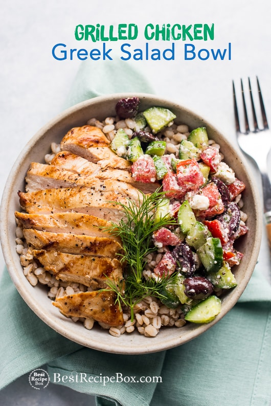 Grilled Greek Chicken Salad Grain Bowl Recipe | @bestrecipebox