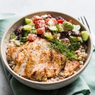 Grilled Greek Chicken Salad Grain Bowl