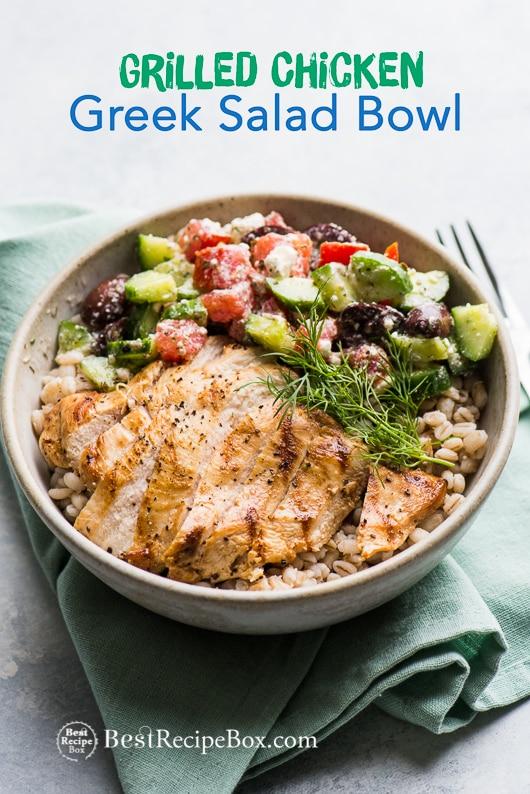 Grilled Greek Chicken Salad Grain Bowl Recipe in a bowl