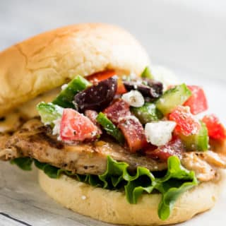 Grilled Greek Chicken Salad Sandwich Recipe @BestRecipeBox