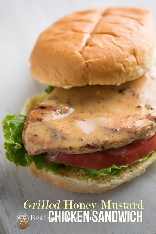 Grilled Honey Mustard Chicken Sandwich with Easy Honey Mustard Sauce Recipe @bestrecipebox