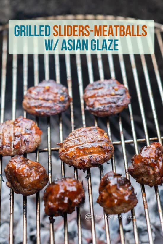 Grilled Asian Meatballs Recipe with Sticky Asian Glaze on grill