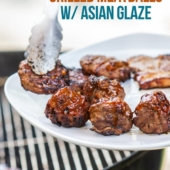 Grilled Asian Meatballs Recipe with Sticky Asian Glaze | BestRecipeBox.com