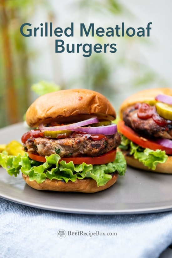 Grilled Meatloaf Burgers Recipe on the BBQ and on plate