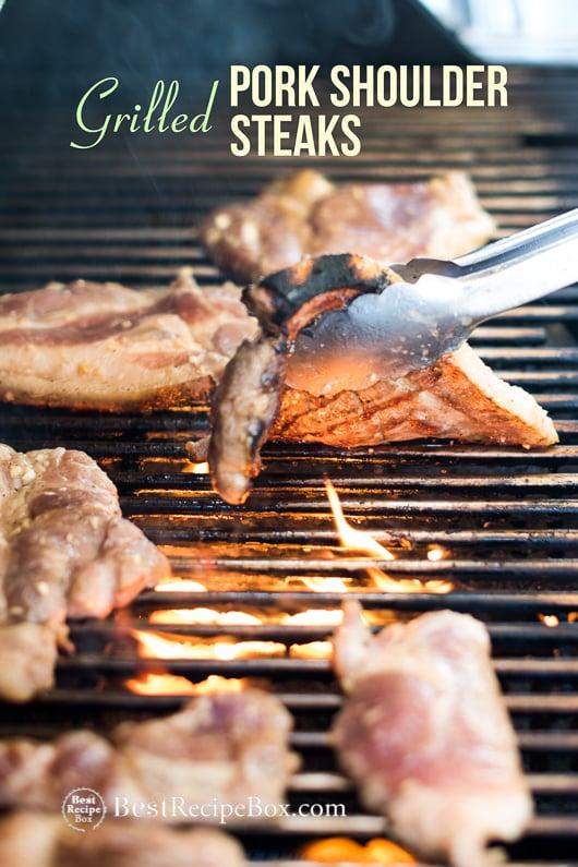 Grilled Pork Steak Recipe BBQ Pork Shoulder Steaks @bestrecipebox