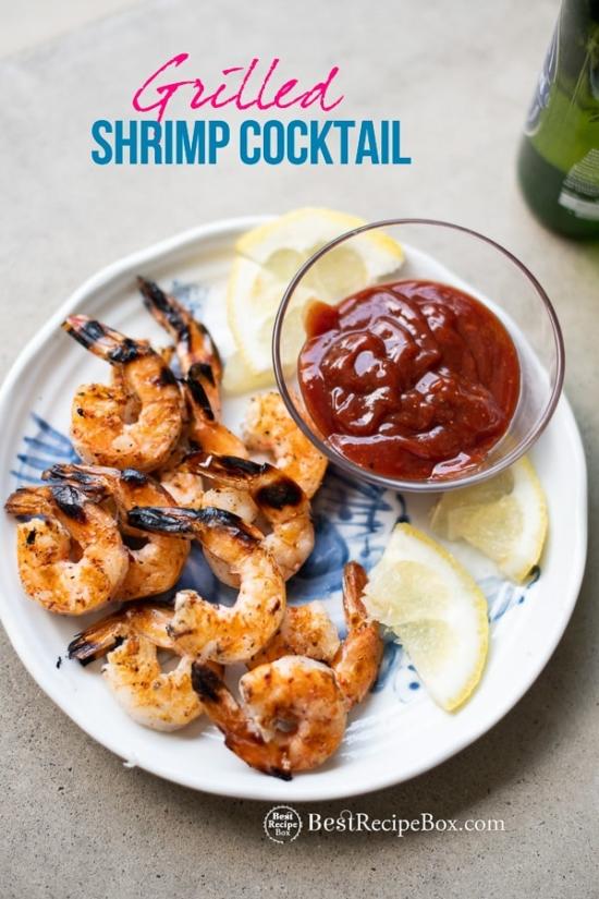 Grilled Shrimp Cocktail Recipe on plate