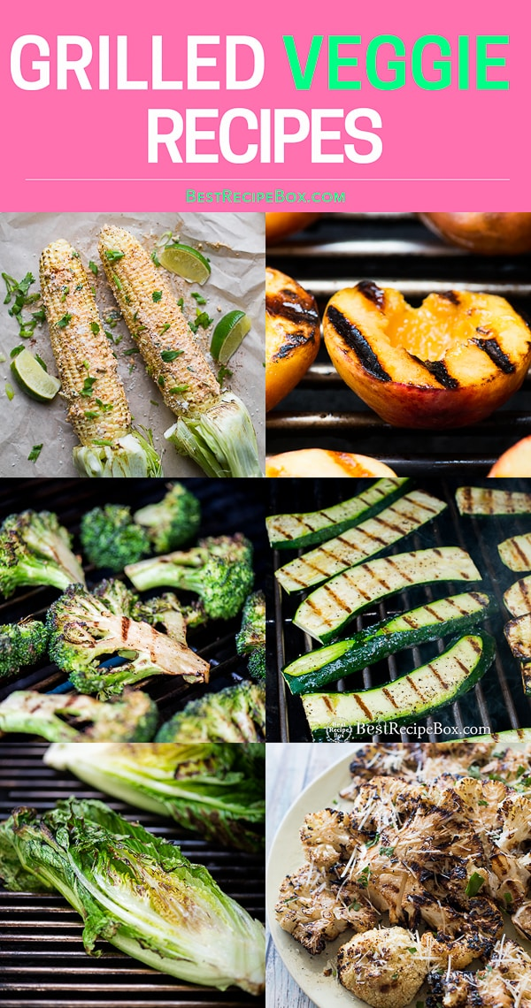 Healthy vegetables on the grill and bbq like corn, broccoli and zucchini step by step
