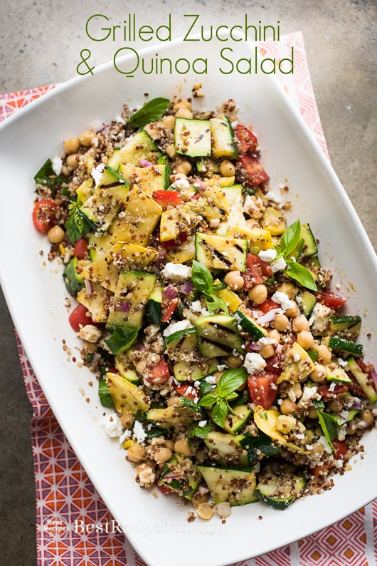 Vegetarian Grilled Zucchini Salad Recipe with Quinoa | @bestrecipebox