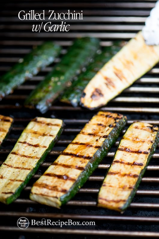 Grilled Zucchini Recipe with Garlic or BBQ Zucchini on a grill