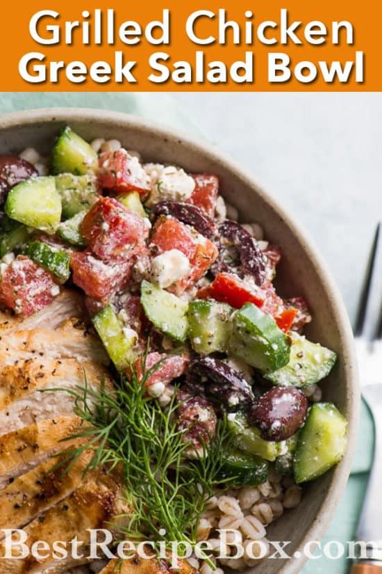 Grilled Greek Chicken Salad Grain Bowl Recipe | @bestrecipebox