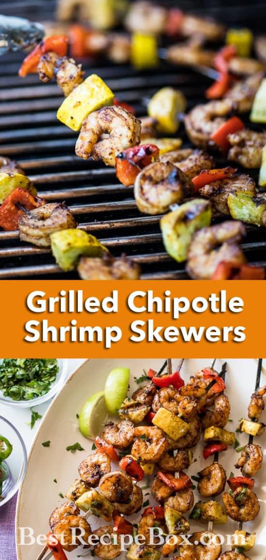 Grilled Chipotle Shrimp Skewers Recipe or Shrimp Kebab Recipe | @bestrcecipebox