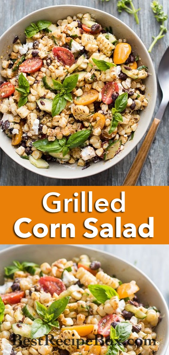 Summer Grilled Corn Salad with Black Beans, Tomatoes, Basil, Feta Cheese | @bestrecipebox