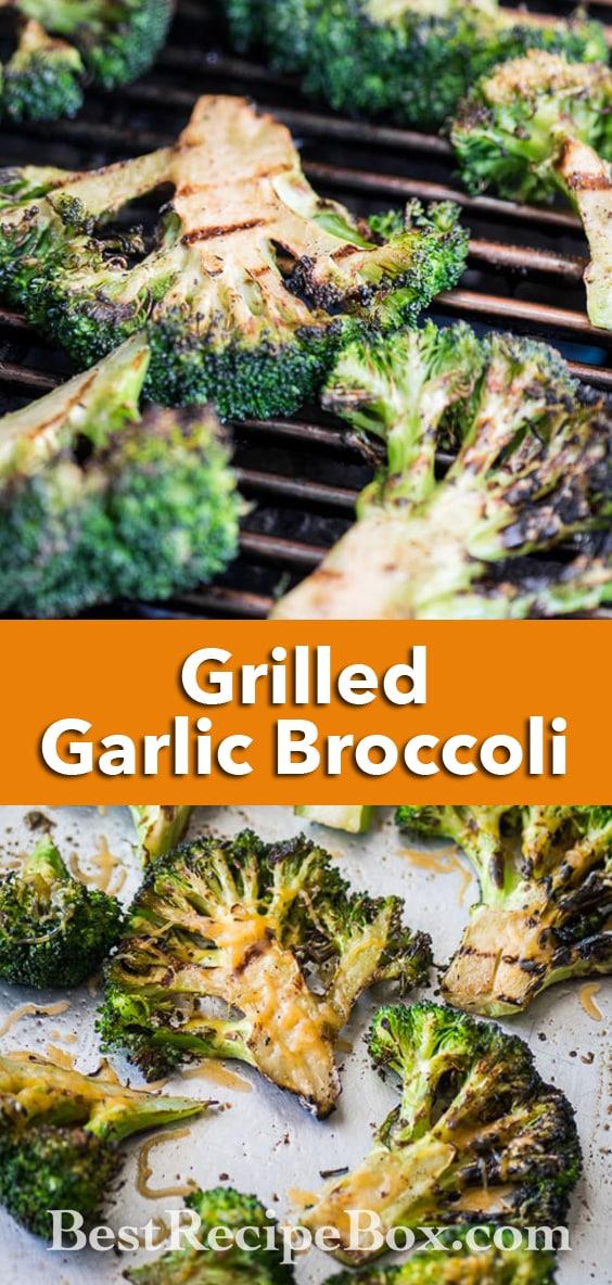 Grilled Broccoli Recipe or BBQ Broccoli Recipe with Cheddar Cheese | @bestrecipebox