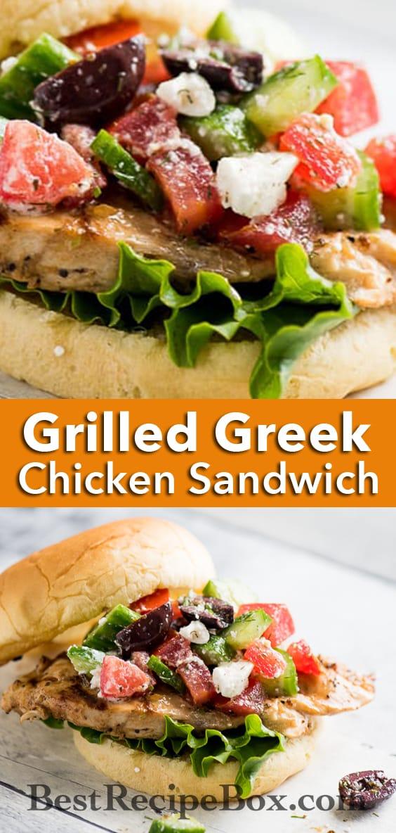 Grilled Greek Chicken Salad Sandwich Recipe @BestRecipeBox