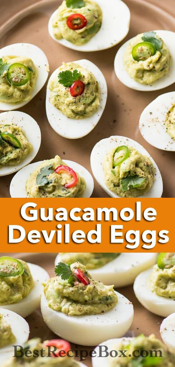 Guacamole Deviled Eggs Recipe with Avocado for Easter or Cinco de Mayo @bestrecipebox