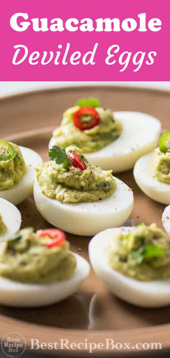 Guacamole Deviled Eggs Recipe with Avocado for Easter or Cinco de Mayo @bestrecipebox