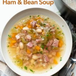 Quick Easy Ham and White Bean Soup Recipe Stove Top | BestRecipeBox.com