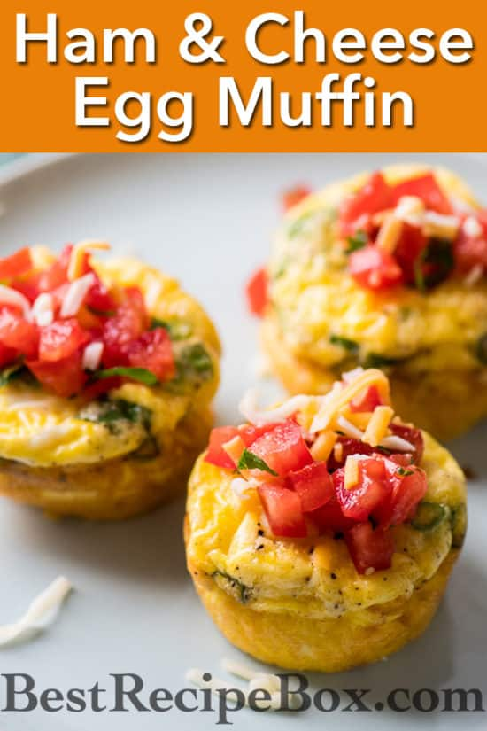 Ham Cheese Egg Muffins Recipe for Breakfast Brunch Recipes | @bestrecipebox