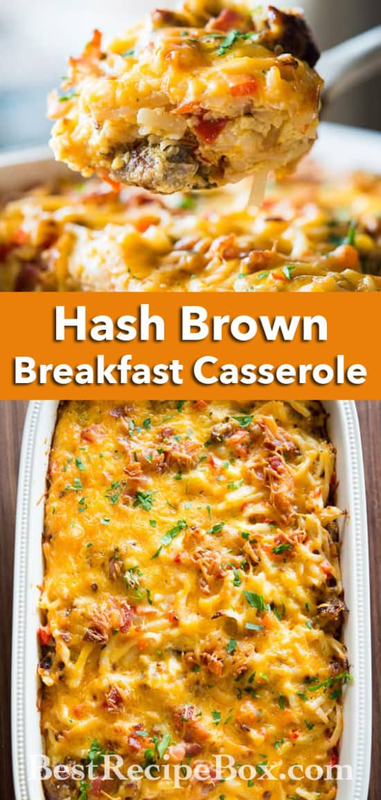 Hash Brown Sausage Casserole with Bacon | @bestrecipebox