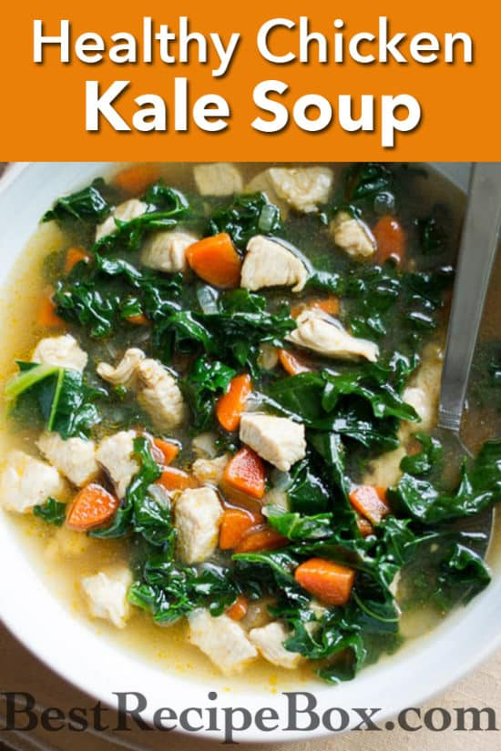 Healthy Chicken Soup Recipe with Tons of Kale and loaded with flavor | @bestrecipebox