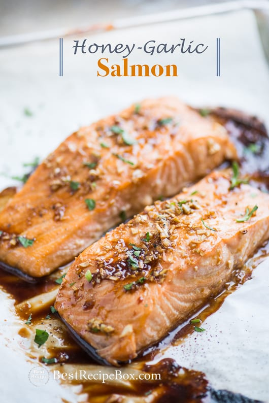 Baked Honey Garlic Salmon that's Easy Healthy Salmon Recipe | @bestrecipebox