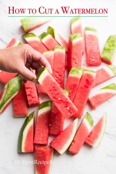 How to Cut Watermelon into Stick for Easy Eating Watermelon Salads on cutting board