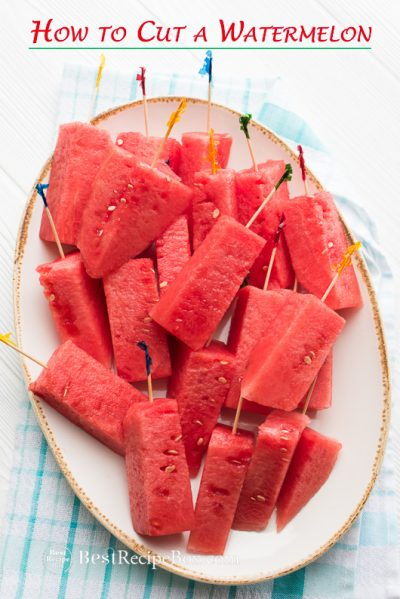 How to Cut Watermelon into Stick for Easy Eating Watermelon Salads on plate