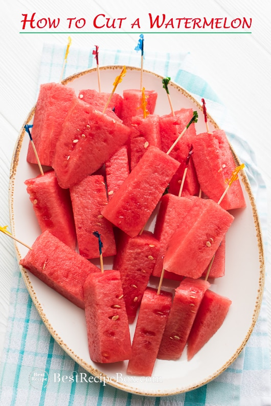 How to Cut Watermelon into Stick for Easy Eating Watermelon Salads | @bestrecipebox