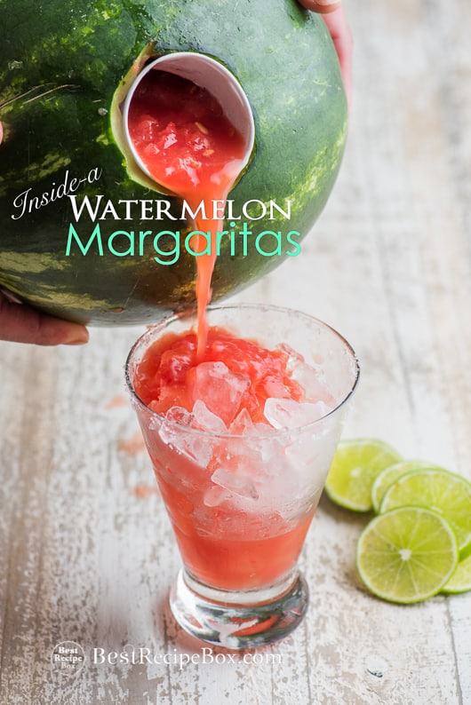 Inside-A-Watermelon Margarita Recipe for a great watermelon cocktail recipe | @bestrecipebox
