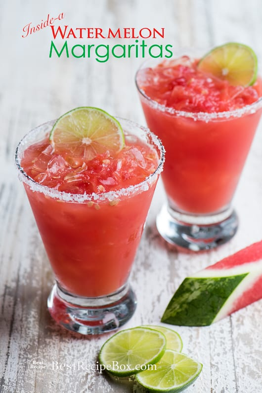 Inside-A Watermelon Margaritas Recipe for a great watermelon cocktail recipe | @bestrecipebox
