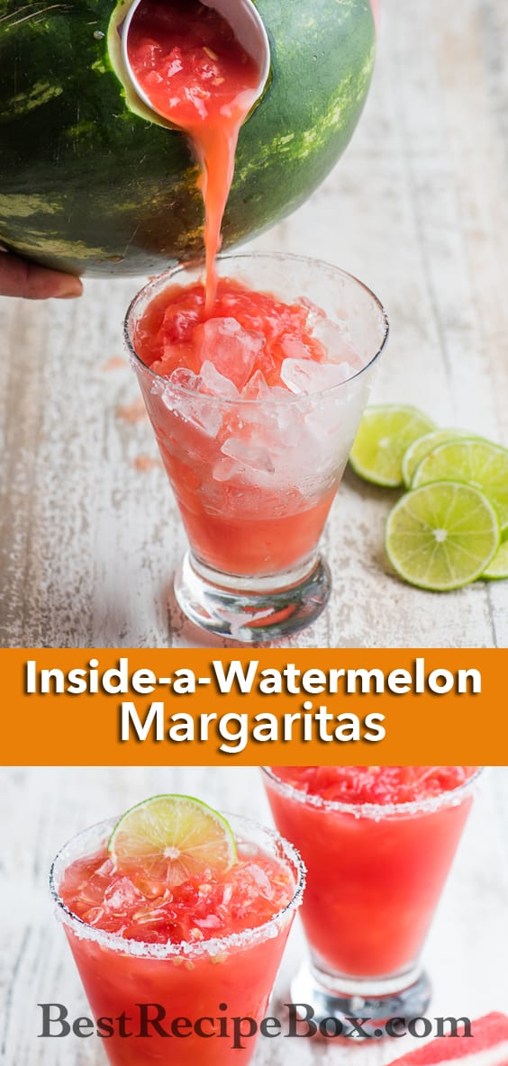 Inside-A-Watermelon Margarita Recipe for a great watermelon cocktail recipe | @bestrecipebox