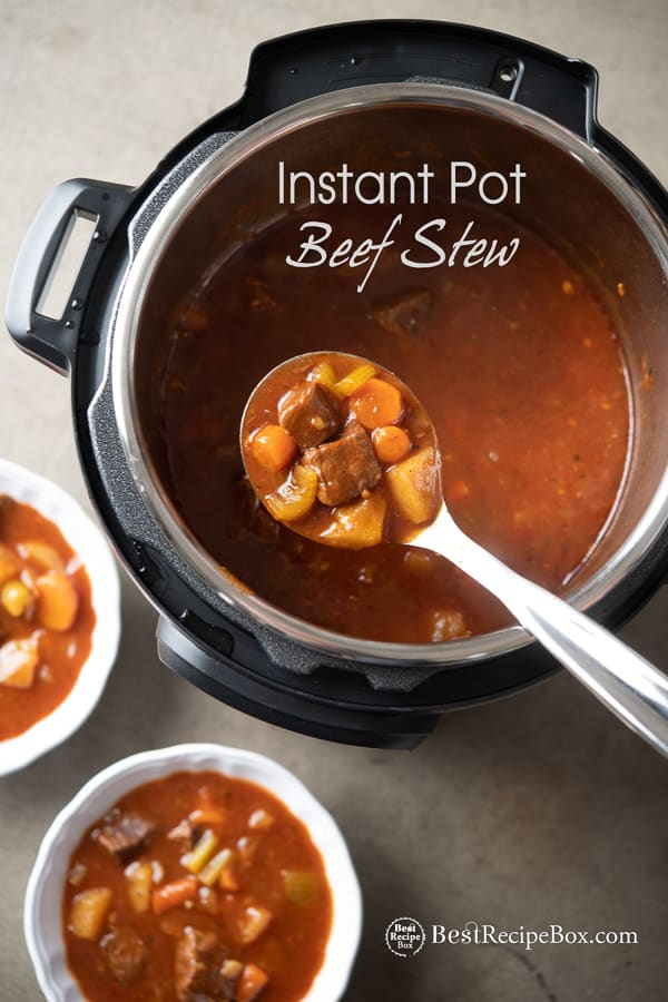 Instant Pot Beef Stew Recipe in a bowl with spoon