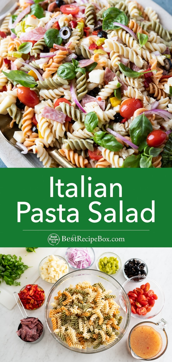 Quick and Easy Italian Pasta Salad with Salami, Cheese, Basil and More! Step by step